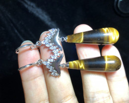 Natural Tiger Eye Silver Earrings With Cubic Zircons