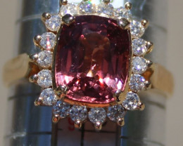 Namya Pink Orange Spinel 3.43ct Diamonds Solid 18K Yellow Gold Cocktail Rin