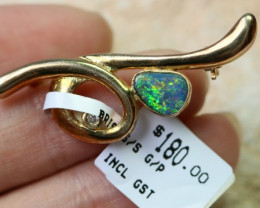 Doublet Opal set in hand made  G/P silver Brooch 192276-11