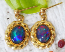 Australian Beautiful Triplet Opal Earrings gold plated Set CF 1020