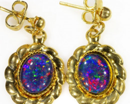 Australian Beautiful Triplet Opal Earrings gold plated Set CF 1007