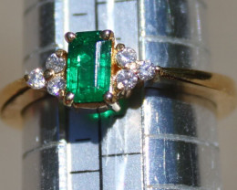 Columbian Emerald .65ct Diamonds Solid 18K Yellow Gold Ring,Certified,Appra