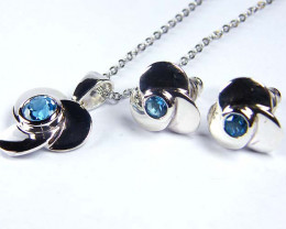 BLUE TOPAZ GEMSTONE SILVER PENDANT N EARRINGS GRR 190