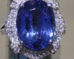 Tanzanite 14.58ct Diamonds Solid 18K White Gold Cocktail Ring,GIA Certified