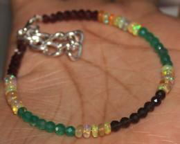 18 Crt Natural Welo Opal Smokey, Garnet & Onyx Beads Bracelet 448