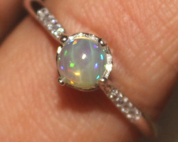 Natural Ethiopian Welo Fire Opal 925 Sterling Silver Ring Size (US 8) 8