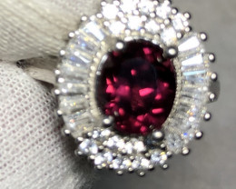 Natural Rhodolite Garnet 925 Silver Ring