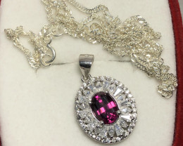 Natural Rhodolite Garnet 925 Silver Necklace With 925 Silver  Chain