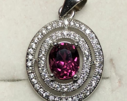 Natural Rhodolite Garnet 925 Silver  Necklace With Silver Chain