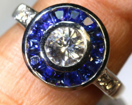 17.20 CTS BLUE AND WHITE SILVER SAPPHIRE RING  -2679