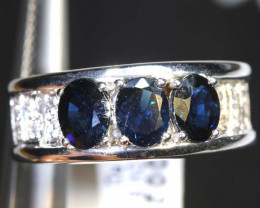 15.60 CTS BLUE AND WHITE SAPPHIRE SILVER RING  SG-2680