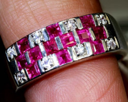 22.65 CTS RUBY AND WHITE SAPPHIRE SILVER RING  SG-2687