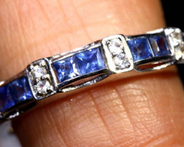 15.65 CTS BLUE AND WHITE SAPPHIRE SILVER RING  SG-2689
