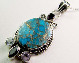 TURQUOISE,GARNET,AMETHYST, TOPAZ  SILVER PENDANT 55 CTS MGMG 39