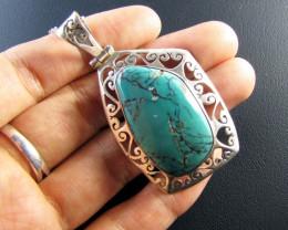 76 Cts Large Tibetan Turquoise Pendant MJA 669