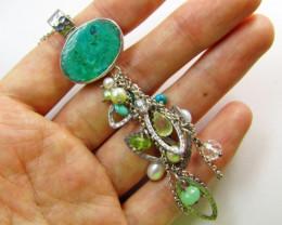 Beautiful Chrysocolla  multi gemstone Pendant MJA369