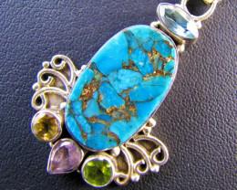 Turquoise n  Peridot,Amethyst ,Citrine Gemstone Pendant MJA 661