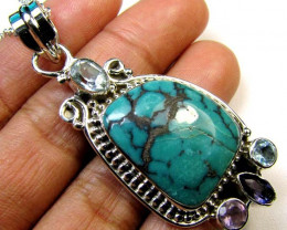 TURQUOISE ,AMETHYST, TOPAZ SILVER PENDANT 52.45 CTS MGMG 41