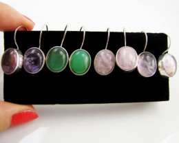4 MIXED GEMSTONE EARRINGS-RE SELLERS PARCEL MJA1169