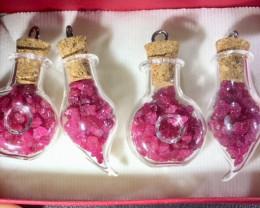 Set 4 Rough Ruby filled Glass vile pendants SU 1517