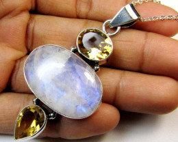 MOONSTONE AND CITRINE SILVER PENDANT 63.85 CTS MGMG 36
