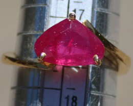 Burmese Ruby 3.31ct Solid 22K Yellow Gold Solitaire Ring,Not Treated,Certif
