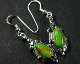 GREEN TRQ STERLING SILVER EARRINGS MYT689