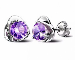 7.85 Ct Natural Purplish Amethyst Real 925 Sterling Silver Stud Earrings