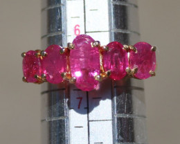 Burmese Ruby 2.30ct Solid 22K Yellow Gold Multistone Ring,Natural,Untreated