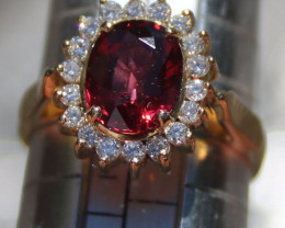 Orangy Red Mogok Spinel 2.60ct Diamonds Solid 18K Yellow Gold Cocktail Ring