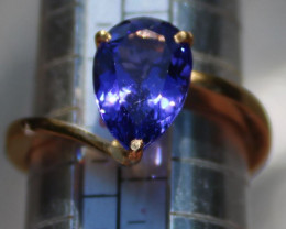 Tanzanite 3.78ct Solid 22K Yellow Gold Solitaire Ring,High Grade,Blue/Viole