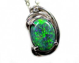 EXQUISITE BLACK OPAL PENDANT  PLATINUM WHITE GOLD SCO776