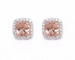 18ct White Gold Morganite and Diamond Earrings