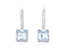 18ct White Gold Aquamarine and Diamond Earrings