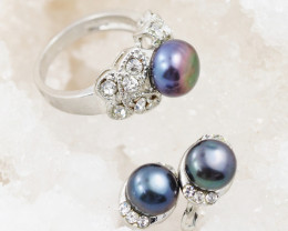 Fresh water Black  Pearl Ring French clasp Earring AM 1196