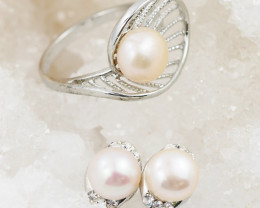 Fresh water Ivory Pearl Ring French clasp Earring AM 1197