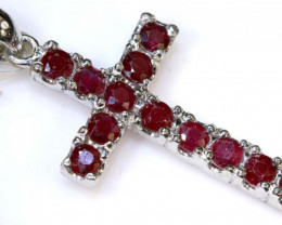 16 CTS RUBY CROSS PENDANT SILVER  RJ- 199