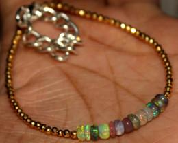 15 Crt Natural Welo Opal & golden Pyrite Beads Thin Bracelet 475