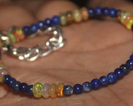 20 Crt Natural Welo Opal Beads & Lapis Lazuli Balls Bracelet 426