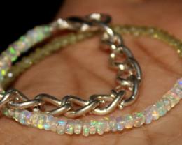 10 Crt Natural Welo Opal & Peridot Beads Thin Bracelet 449
