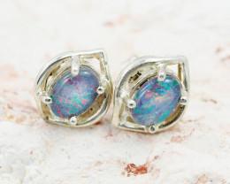 Australian Opal triplet  silver Earring OPJ 2074