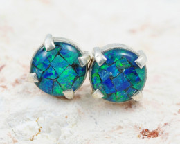 Australian Opal Mosaic  triplet Earring Silver opj 2075