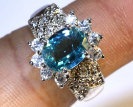 27CTS BLUE TOPAZ  SILVER RING     SIZE-5    RJ-22