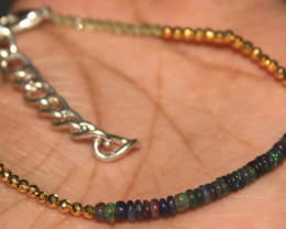 13 Crt Natural Welo Smoked Opal, Peridot Pyrite Beads Thin Bracelet 489