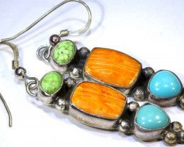 45.5 CTS CORAL TURQUOISE EARRINGS /SILVER  TBJ-1