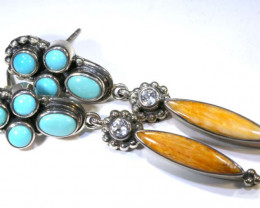 42 CTS CORAL TURQUOISE EARRING  TBJ-2