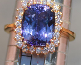 Tanzanite 5.85ct Diamonds Solid 22K Yellow Gold Cocktail Ring,Certified,App