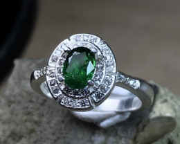Very Charming - Tsavorite Garnet Fine Silver Ring