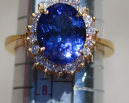 Tanzanite 5.01ct,Natural Diamonds,Solid 22K Yellow Gold Cocktail Ring,Vivid