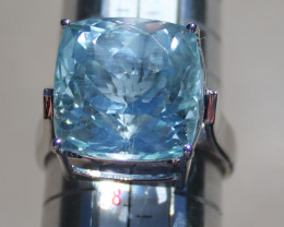 Aquamarine 14.75ct Solid 18K White Gold Solitaire Ring,Certified,Appraised,